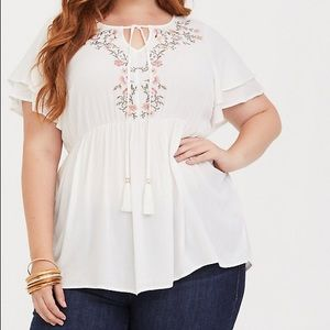 Torrid White Floral Embroidered Crepe Blouse
